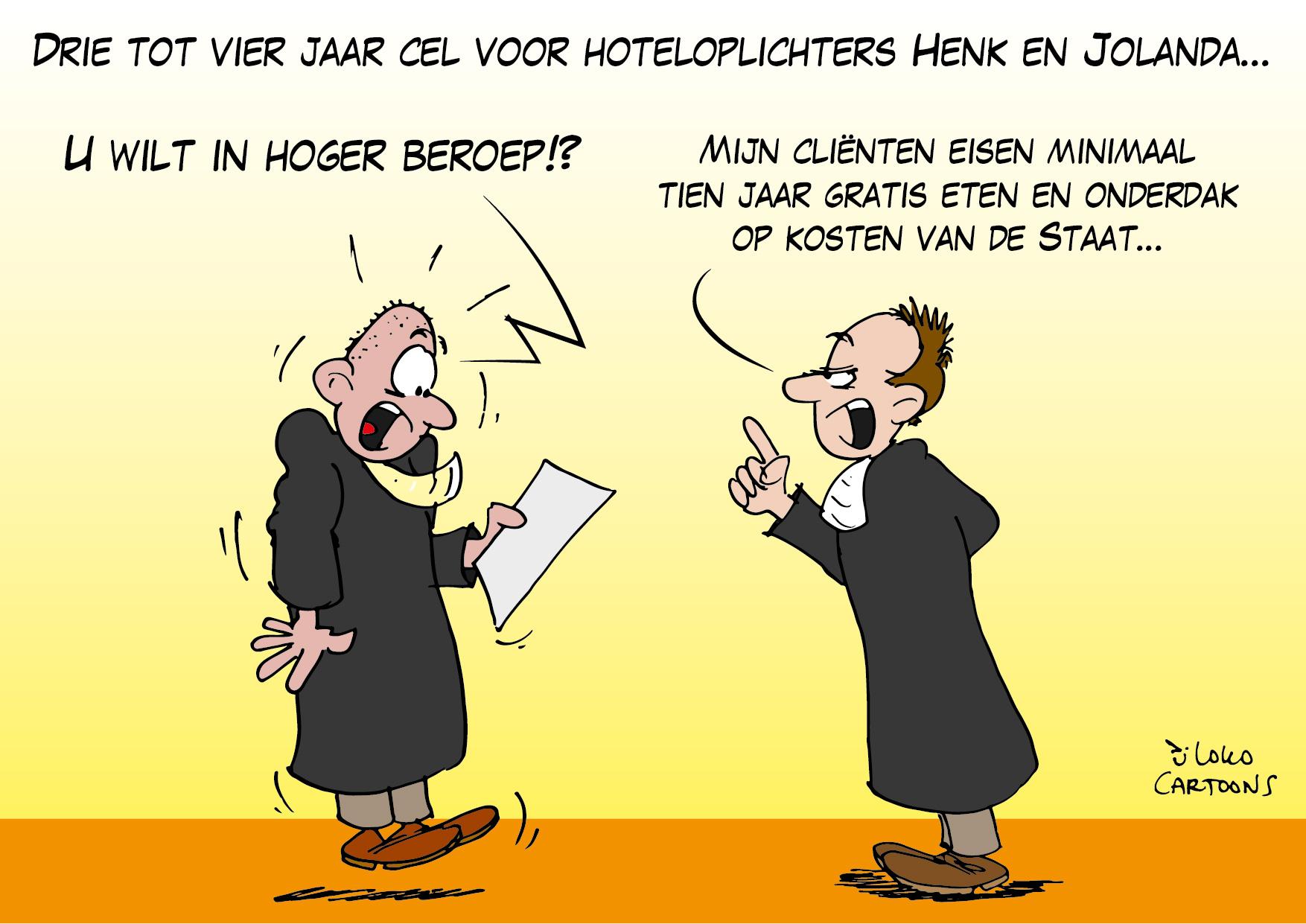 Drie tot vier jaar cel voor hoteloplichters Henk en Jolanda…