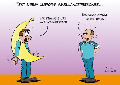 Test nieuw uniform ambulancepersoneel