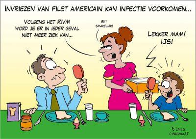 Invriezen van filet americain kan infectie voorkomen
