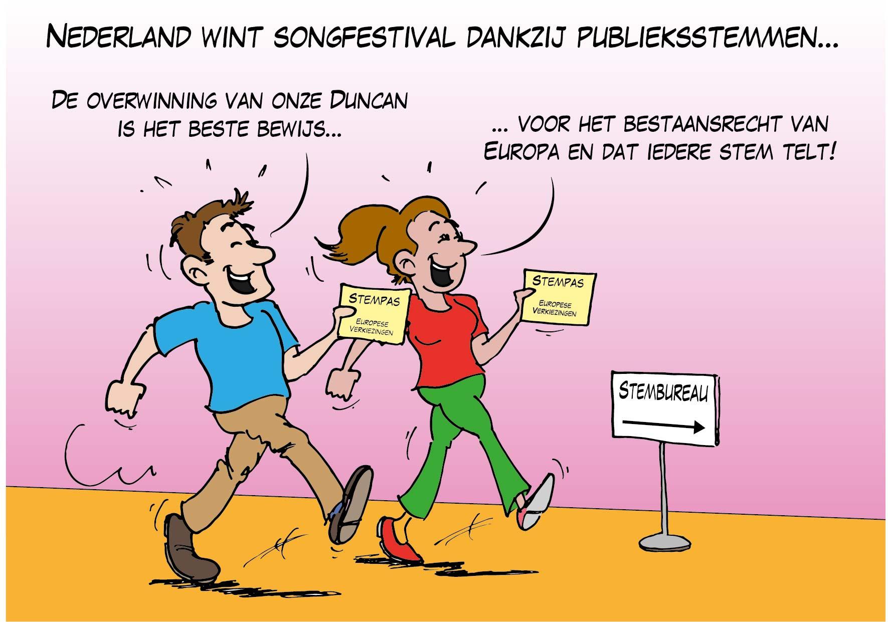 Nederland wint Songfestival dankzij publieksstemmen…