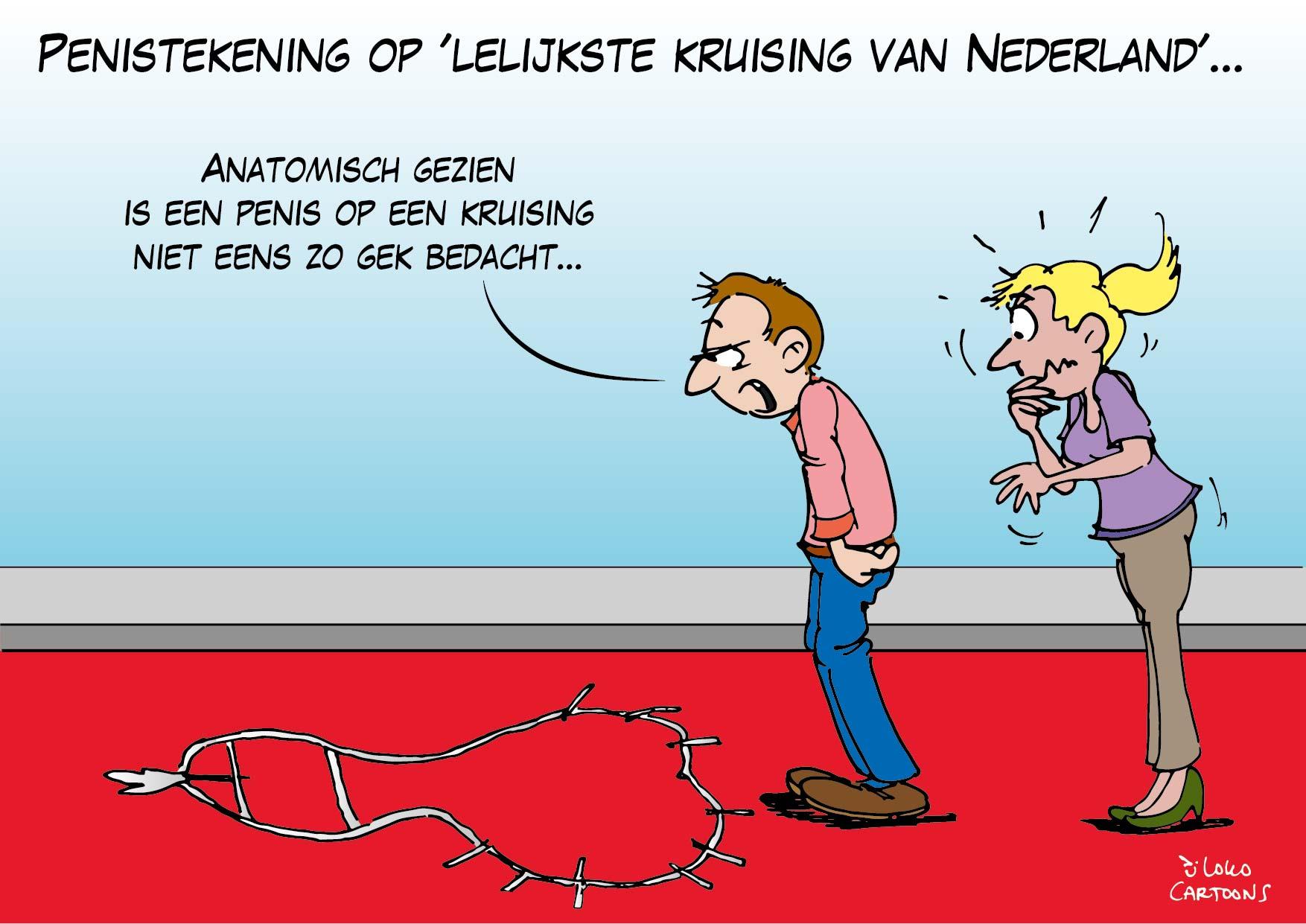 Penistekening op lelijkste kruising van Nederland…