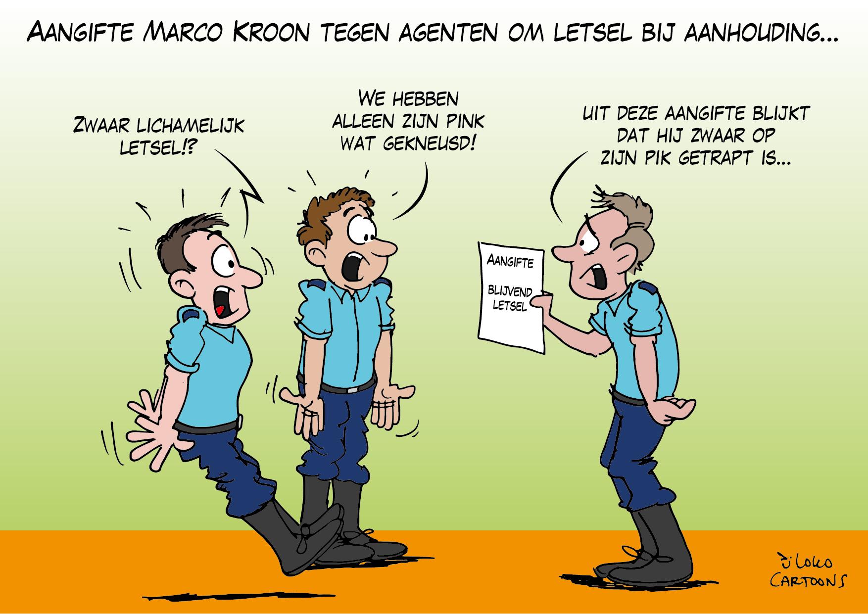 Aangifte Marco Kroon tegen agenten om letsel bij aanhouding…