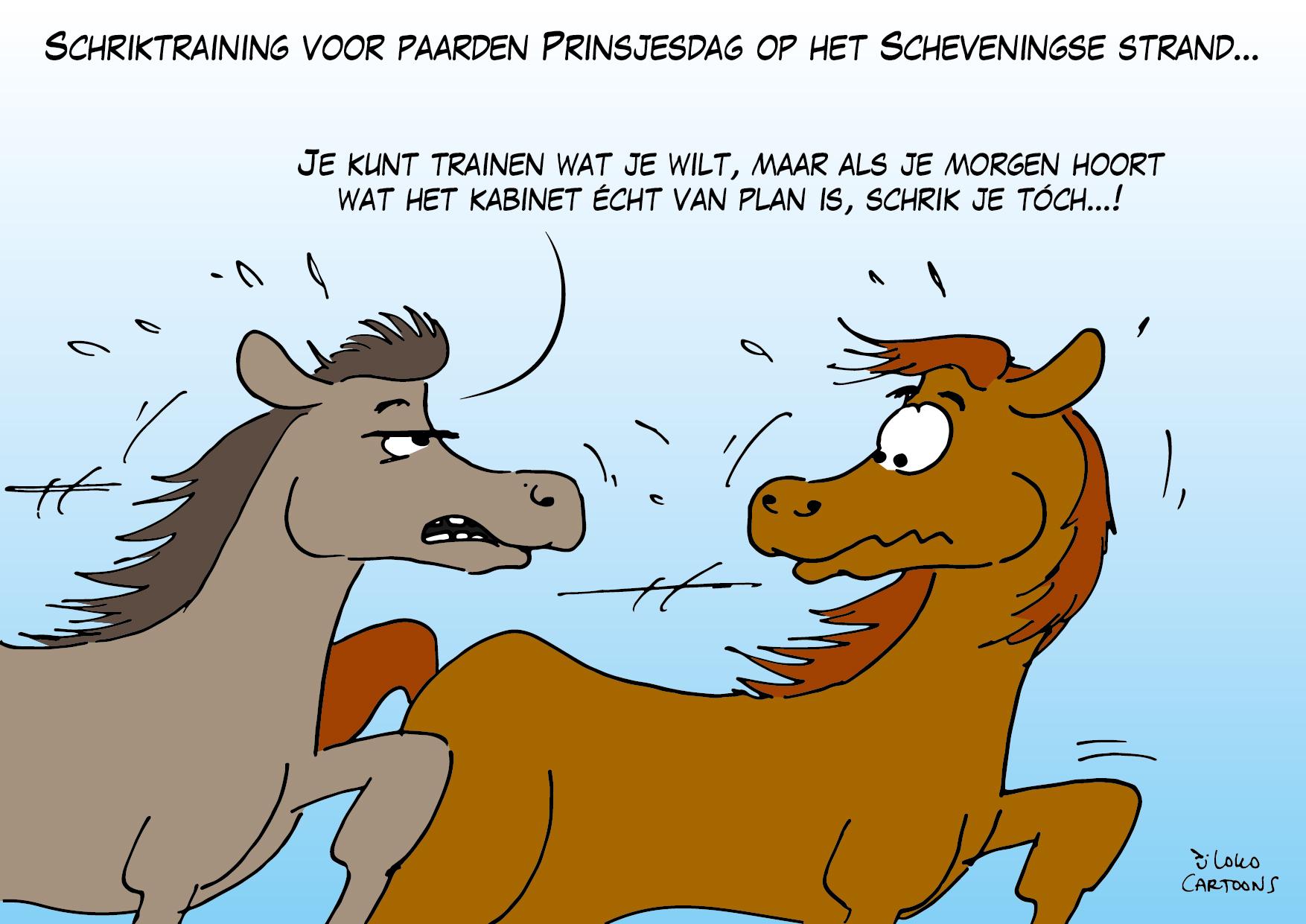Schriktraining voor paarden Prinsjesdag op het Scheveningse strand…