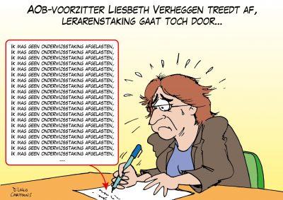 AOb-voorzitter Liesbeth Verheggen treedt af, lerarenstaking gaat toch door
