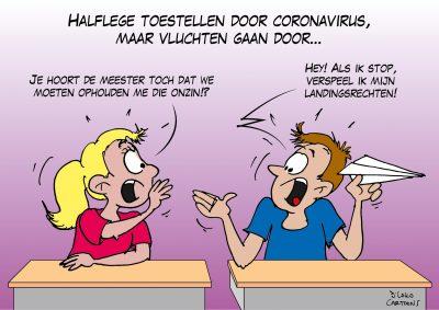 Halflege toestellen door coronavirus maar vluchten gaan door Corona, coronavirus, coronacrisis, COVID-19
