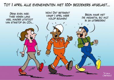 Tot 1 april alle evenementen met meer dan honderd bezoekers afgelast Corona, coronavirus, coronacrisis, COVID-19