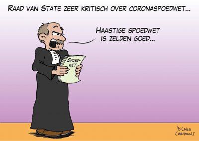 Raad van State zeer krtitisch over coronaspoedwet Corona, coronavirus, coronacrisis, COVID-19