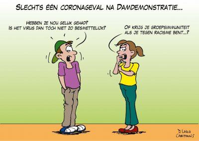 Slechts één coronageval na Damdemonstratie Corona, coronavirus, coronacrisis, COVID-19