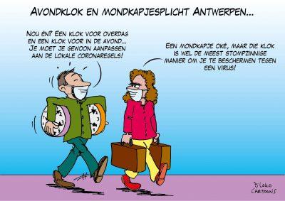 Avondklok en mondkapjesplicht Antwerpen Corona, coronavirus, coronacrisis, COVID-19