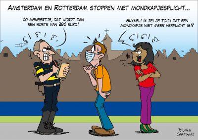 Amsterdam en Rotterdam stoppen met mondkapjesplicht Corona, coronavirus, coronacrisis, COVID-19