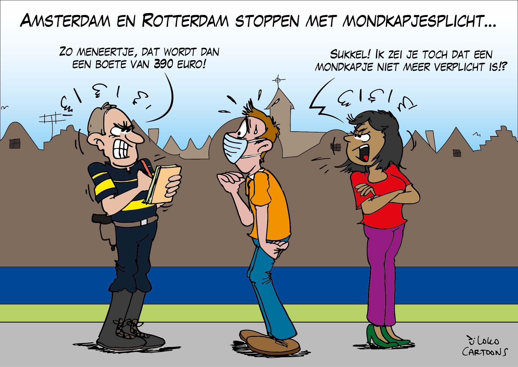 Amsterdam en Rotterdam stoppen met mondkapjesplicht…