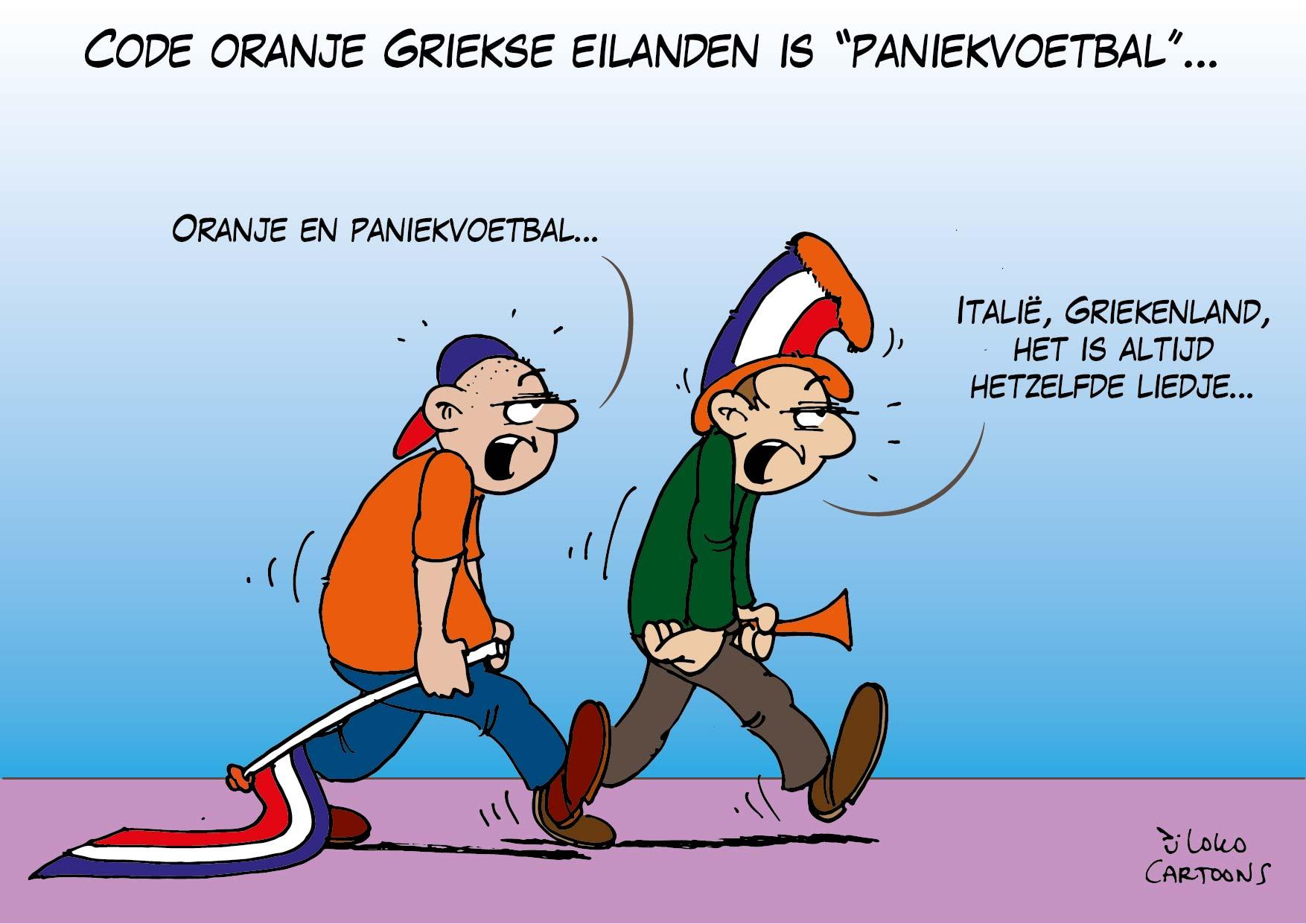 """Code Oranje Groekse eilanden is """"paniekvoetbal""""…"""