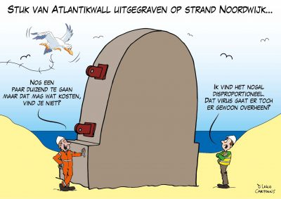 Stuk van Atlantikwall uitgegraven op strand Noordwijk Corona, coronavirus, coronacrisis, COVID-19