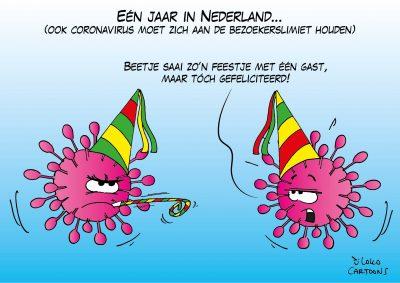 Een jaar in Nederland (ook het coronavirus moet zich aan de bezoekerslimiet houden) avondklok avondklokrellen relschoppers coronaprotest coronavaccin vaccin vaccinatie vaccinatiebewijs vaccinatieplicht bijwerkingen coronavirus COVID19 coronamaatregelen inenting Pfizer Moderna Astra Zenica Corona, coronavirus, coronacrisis, COVID-19
