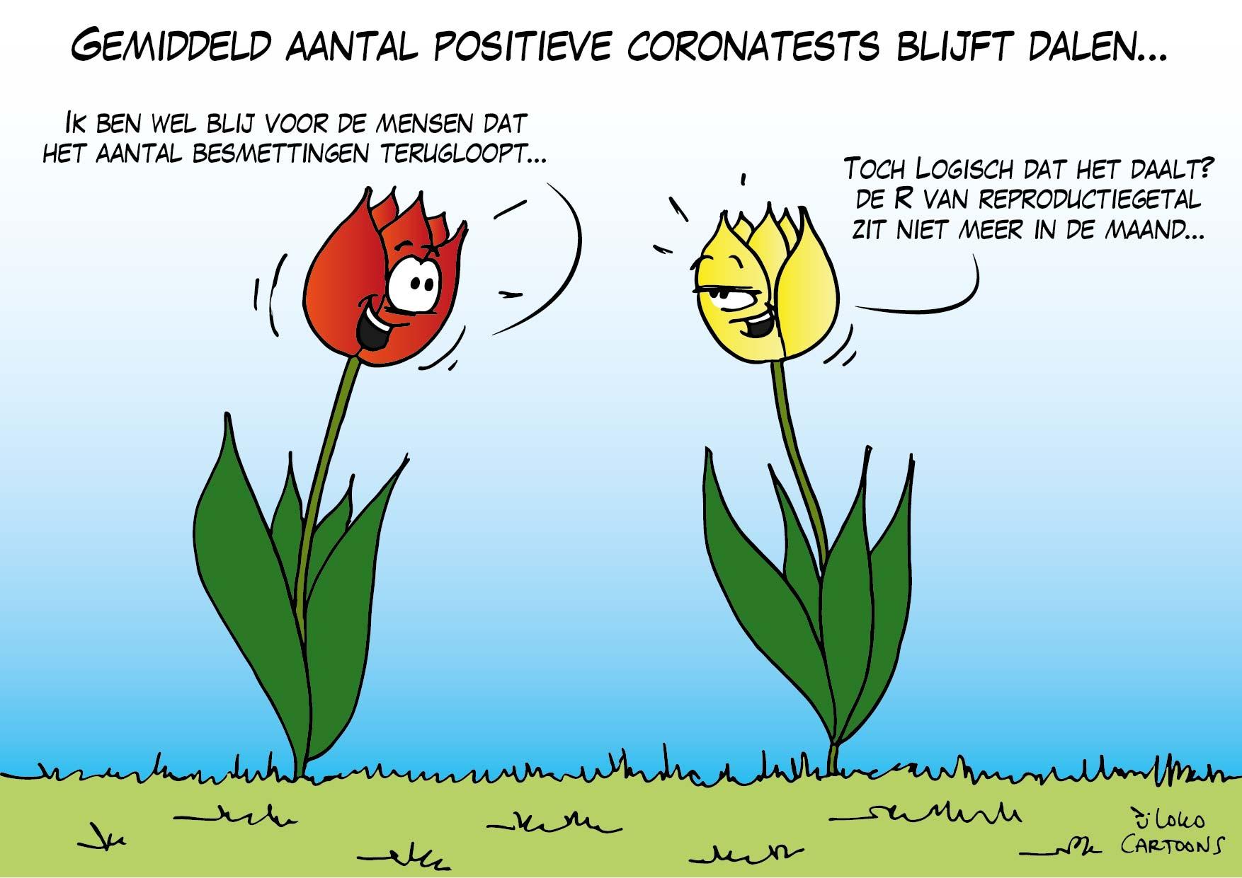 Gemiddeld aantal positieve coronatests blijft dalen…