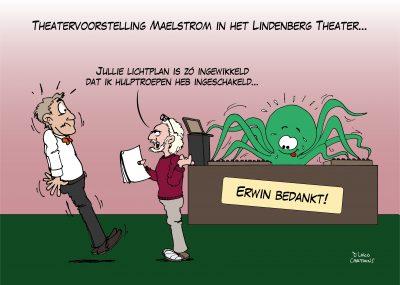 cadeau cartoon karikatuur theater technicus licht geluid Lindenberg Spiegelzaal