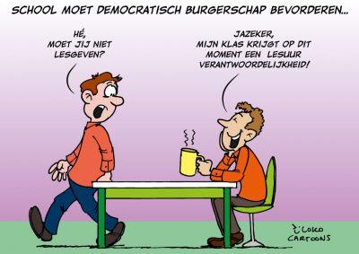 cartoonverslag bijeenkomst onderwijs vmbo Loko Cartoons omgeving Nijmegen Arnhem