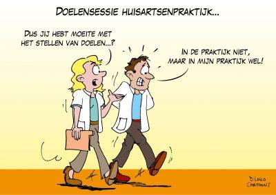 coaching teams bijeenkomst huisarts huisartsenpraktijk cartoonverslag live cartooning Loko Cartoons omgeving Nijmegen Arnhem