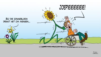 zonnebloem cartoon goed doel stichting vereniging