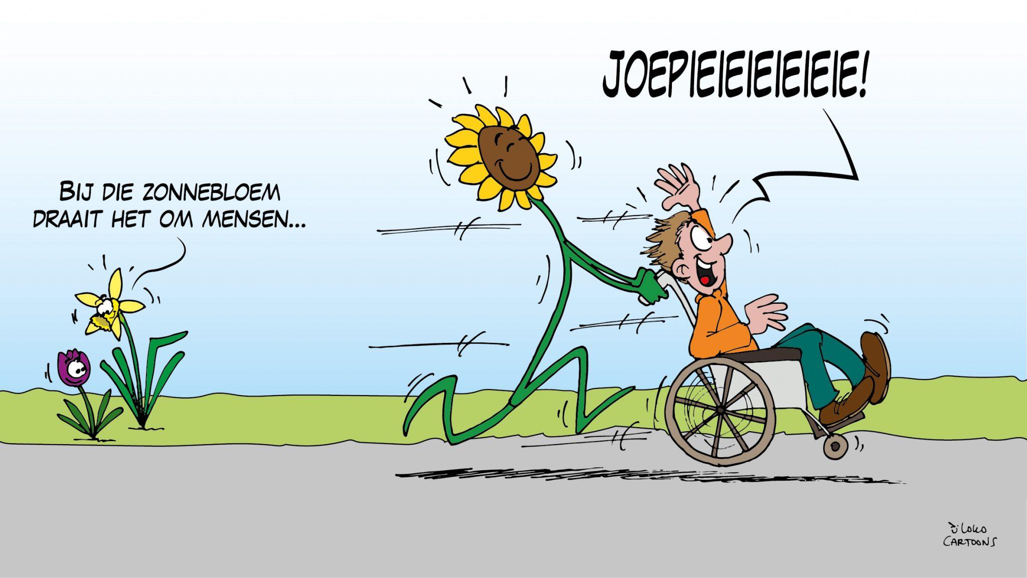 Zonnebloem cartoon landelijk opgepakt!